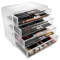 Sorbus® Acrylic Cosmetics Makeup and Jewelry Storage Case Display- 4 Large Drawers Space- Saving, Stylish Acrylic Bathroom Case Great for Lipstick, Nail Polish, Brushes, Jewelry and More