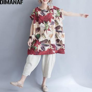Tops and Tees T-Shirt DIMANAF Women T-Shirt Summer 2018 Plus Size Basic  Tees Linen Thin Print Leaves Female Casual Loose Long s Big Pockets AT_60_4 AT_60_4