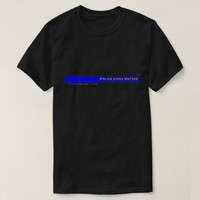 Thin Blue Line Striped Police Lives Matter Support T-Shirt