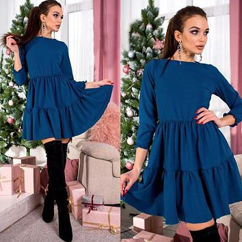 Women Vintage Ruffled Mini Party Dress Three Quarter Sleeve A-line Solid Casual Dress 2018 Spring New Office Lady Women Dress