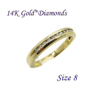 14K Gold Diamond Wedding Band - Vintage Channel Set Diamond Ring, Anniversary Band, Size 8