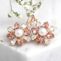 Blush Earrings, Bridal Blush Earrings, Morganite Drop Earrings, Pearl Earrings, Swarovski Blush Earrings, Pink Blush Bridal Earrings,