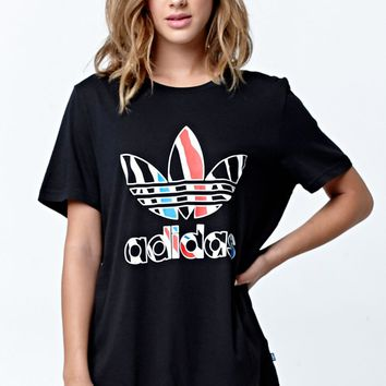 Adidas Zebra Print Logo Short Sleeve T-Shirt - Womens Tee - Black