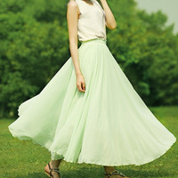 24 Colors 8M Hem Chiffon skirt Maxi Skirt Long Skirt Silk chiffon dress  Silk Skirt Summer Pleat skirt Beach Skirt plus size dress.  489