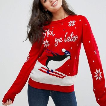 Brave Soul Ski Ya Later Christmas Jumper at asos.com