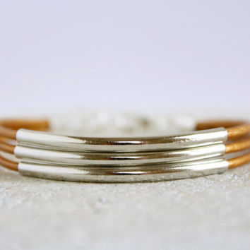 Bohemian Mixed Metal Jewelry Silver Tube Multistrand Gold Leather Wrap Bracelet Boho Chic