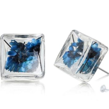 SQUARE GLASS BOTTLE EARRINGS W BLUE DRIED FLOWERS