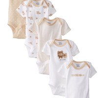Gerber Unisex-Baby Newborn 5 Pack Neutral Variety Onesuit, Bears, New Born
