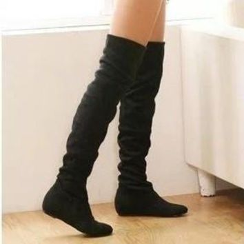 Women boots winter spring ladies fashion flat bottom boots shoes over the knee high le