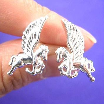 Pegasus Unicorn Horse Animal Stud Earrings | Allergy Free