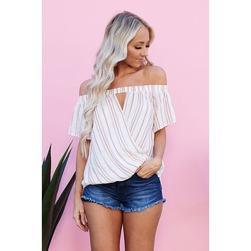 Giving Into You Surplice Off The Shoulder Top (Ivory/Coral)
