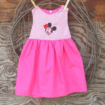 Baby Girl pink  dress with embroidered Minnie Mouse, sizes 6, 9, 12, 18 months