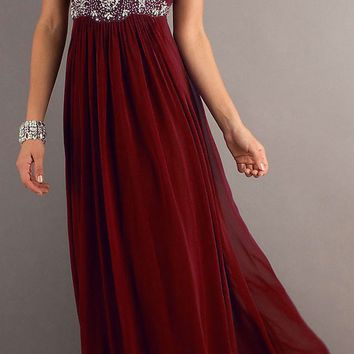 CLEARANCE - Burgundy Chiffon Dress Long Flowy Empire Waist (Size XS)