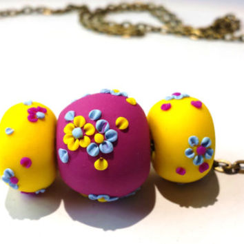 Minimalist Floral Necklace, Flower Bead Necklace, Polymer Clay Necklace, Minimalist Necklace, Purple Floral Necklace, Yellow Floral Necklace