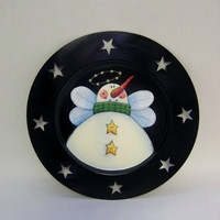 Snow Angel with Stars Tole Painted on Black Decorative Plate