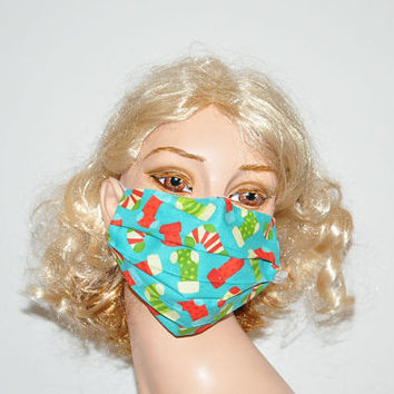 Surgical face mask, christmas stocking, Santa Claus, medical cotton mask, perfect fit, stocking stuffer