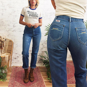 Vintage 1970's ROADRUNNER High Waisted Embroidered Soft Faded Straight Leg Jeans || Size 26
