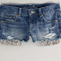 AEO 's Sequin Pocket Denim Shortie (Sea Spray)