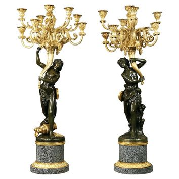 Wonderful Pair of Late 19th Century Two Tone Bronze Candelabra after Clodion