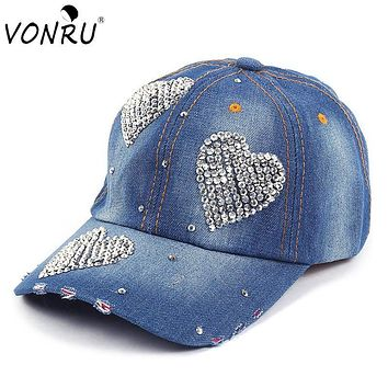 VONRU Brand New Crystal Baseball Cap Women Heart Shape Rhinestones Vintage Jean Cotton Baseball Caps for Female Hot Sale
