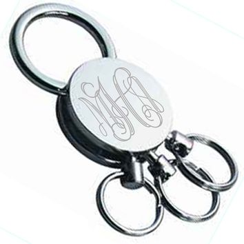 Monogrammed Three Ring Quick Release Key Chain