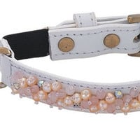 Fresh Water Pearl & Rose Quartz on White Leather - Cat Collar
