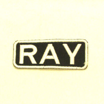 RAY White on Black Iron on Name Badge Patch for Biker Vest NB245