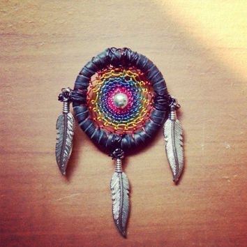 Heady Rainbow Dream Catcher Hat Pin // Festival Head Wear