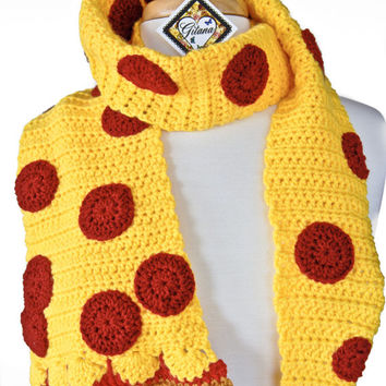Pepperoni Pizza Crochet Scarf- Pizza Scarf - Women Scarf - Kawaii - Food Scarf - Unique Scarf