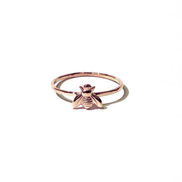 Tiny bee ring - 14k rose gold tiny bee ring, pink gold ring, stacking ring, knuckle ring, midi ring