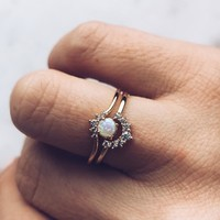 The Opal & Diamond Crown Stacking Ring Set