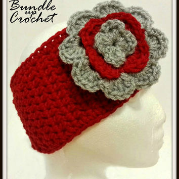 Ohio State Crochet Headband with Flower, OSU Warm Earwarmer, Buckeyes Ear Warmer