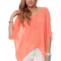 Batty Chiffon Top in Mauve :: tobi