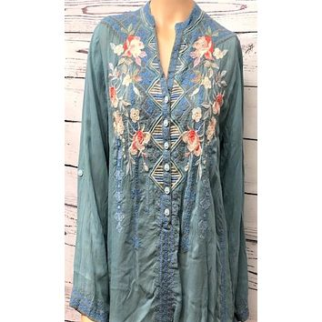 Johnny Was Florence Tunic~ Sky Blue