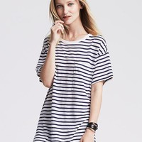 Banana Republic Womens Striped Drapey Pocket Tee