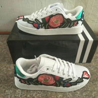 """GUCCI"" Women Casual Multicolor Stripe Embroidery Flower Small White Shoes Plate Shoes Sneakers"