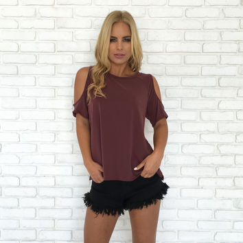 Open Up Cold Shoulder Blouse In Plum