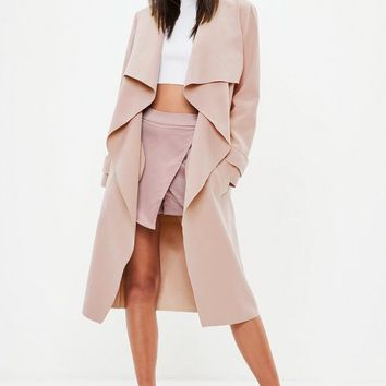 Missguided - Nude Oversized Waterfall Duster Jacket