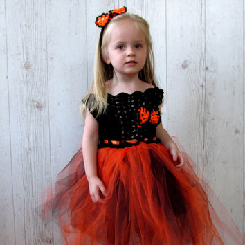 Halloween girls black and orange crochet  tutu dress, and headband ,halloween costume dress up.birthday party