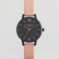 Olivia Burton After Dark Pink Leather Dark Face Watch at asos.com