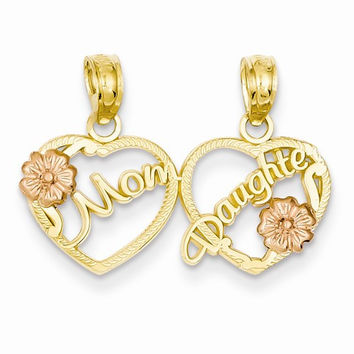 14k Two Tone Gold Mom Daughter Hearts Pendant