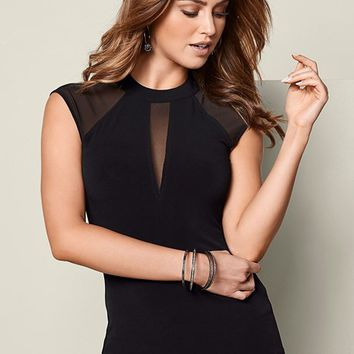 Mesh Inset Cap Sleeve Top in Black | VENUS