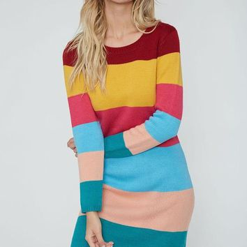 Colorful Sweater Dress - Burgundy and Mustard