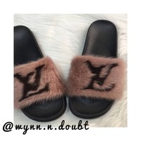 LV Fur Slides