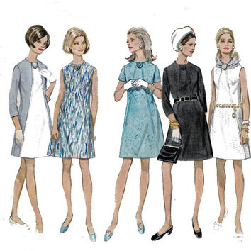 Butterick 5307 Diagonal seamed Dress 1960s Vintage Sewing Pattern Size 12 Bust 34