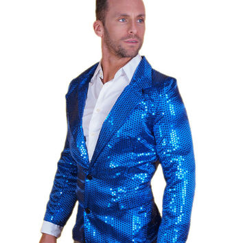 Blue Sequin Disco Jacket