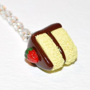 Yellow Cake with Chocolate Icing Polymer Clay by Pumpkinpye517