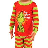 Intimo Toddler Kids Boys and Girls Dr Seuss The Grinch Evil Smile Pajama Set