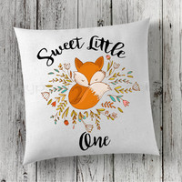 Fox Pillow, Nursery Pillow, New Baby Pillow, Announcement Pillow, Fox Baby Pillow, Woodland Pillow