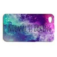 Super Cute NORMAL IS BORING Space Phone Case iPhone 4 4s 5 5s 5c 6 6s Plus iPod